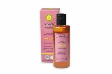 Ajurwedyjski olejek do twarzy i ciała z różowym lotosem Khadi