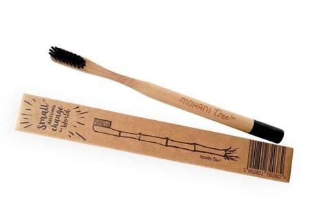 Bambusowa szczoteczka do zębów Mohani - czarna, włosie średnie